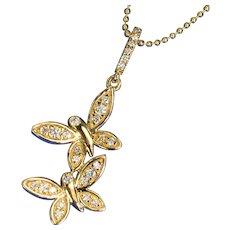 13.3mmx24mm 14K Yellow Gold Diamond Beautiful Butterflies Charm Necklace Pendant