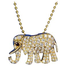 10mmx16.3mm 14K Solid Yellow Gold Diamond Elephant Charm Necklace Pendant