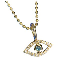 9.55mmx6mm 14K Solid Yellow Gold Diamond Evil Eye Charm Necklace Pendant