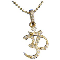 11.3mmx16.8mm 14K Solid Yellow Gold Diamond Om Charm Necklace Pendant