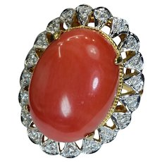 Levian Red Coral Diamond 14k Solid Gold Ring Vintage Ring Size 5.75