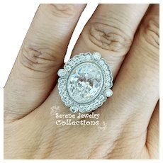 4.01CT Oval Diamond D Color, SI2, Platinum Filigree Art Deco Style Ring Size 4.5