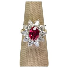 3ct Ruby Heat Only Diamond Ring Platinum 18k gold Vintage Ring Size 7