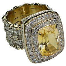 7.8CT Unheated Yellow Sapphire Diamond 14k Solid Gold Ring Vintage Ring Size 6.5