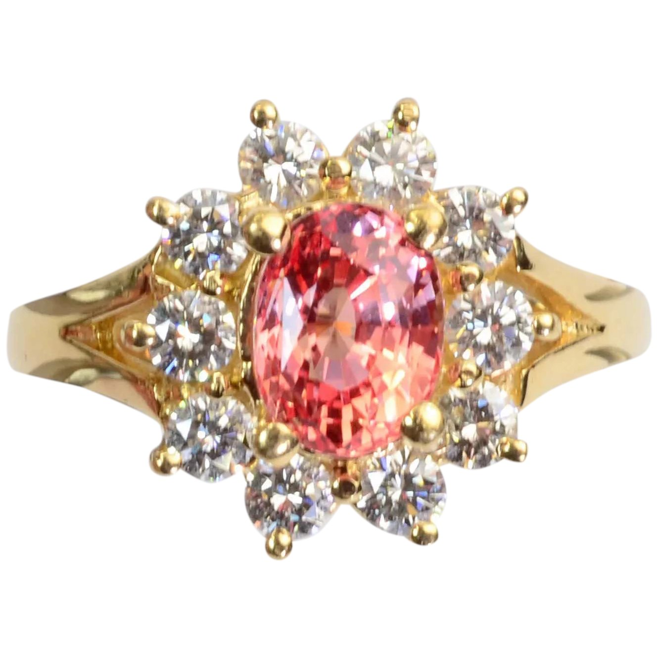 R280 14KY Gold Ring Created Padparadscha Sapphire