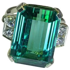 18.2CT Green Blue Tourmaline Diamond 14kWhite Gold Ring Vintage Size 6.25