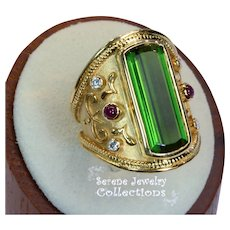 9.02CT Green Tourmaline Diamond Ruby 18k Yellow Gold Ring Vintage Size 7.25