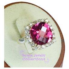 6CT Gemmy Rubellite Red Tourmaline Diamond 18k Yellow Gold Ring Vintage Size 4.25