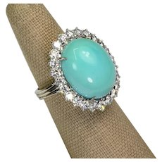Sleeping Beauty Turquoise Cabochon Diamond 18k Gold Ring Vintage Ring Size 6.5
