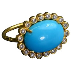 Sleeping Beauty Turquoise Cabochon Diamond 18k Gold Ring Vintage Ring Size 4.5