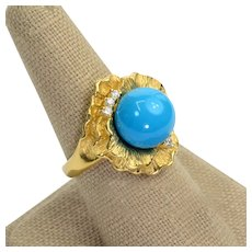 10 carat Sleeping Beauty Turquoise Round Diamond 18k solid gold Ring Vintage Size 6.5