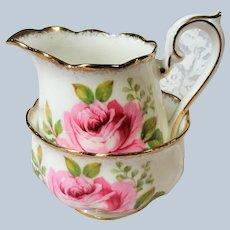 BEAUTIFUL Lush Pink Roses AMERICAN BEAUTY Royal Albert English Bone China Cream Jug Creamer and Open Sugar Bowl Romantic Cottage Brocante Decor Tea Table, Bridal Showers,Weddings