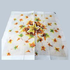 VINTAGE 1950s Hand Printed Hanky,Colorful Leaves Motif Handkerchief, Swiss Made Hankie,Frame It, Give As Gift, Collectible Hankies, Colorful Hanky