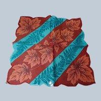 STRIKING Vintage Printed Linen Hanky, Herrmann Label, Colorful Hankie, Handkerchief To Frame, Collectible Hankies