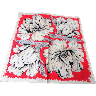1940s COLORFUL Vintage Printed Hanky Handkerchief Perfect To Frame or Give As Gift Collectible Printed Hankies