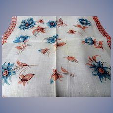 LOVELY Vintage Printed Floral Hanky Colorful Flowers Handkerchief To Frame Collectible Hankies,1950s Hankies, 1950s Hanky, 1950s Handkerchiefs, Mid Century Hankies