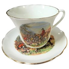VINTAGE English Teacup,Equestrian The Hunt,Fox Hunting,Horse Riding,Fox Hound Dogs,Gentlemens Teacup Size, Collectible Teacups,Gift For Him