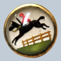 Antique ESSEX CRYSTAL Button,Steeplechase Button, Race Horse Jockey Button, Reverse Detail Painted Glass, Equestrian Button, Fox Hunt,Collectible Buttons