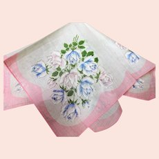 BEAUTIFUL Vintage Printed Floral Hanky,Pink and Blue Roses,Handkerchief To Frame,Collectible Hankies,1950s Hankies, 1950s Hanky, 1950s Handkerchiefs, Mid Century Hankies