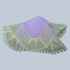 BEAUTIFUL Art Deco French Lace Handkerchief, Pink Silk Hanky,Perfect Bridal Hankie,Wedding Hankies, French Decor,Vintage Collectible Hankies