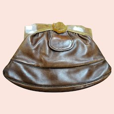 AMAZING Art Deco 30s-40s Leather and Bakelite Purse, Handbag, Clutch Purse, Sliding Closure, Amber Color Bakelite, Carved Closure,Collectible Vintage Purses