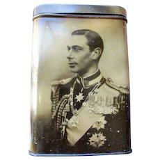 ROYALTY British Coronation Litho Tin Box,Royal Souvenir 1937, King George VI Queen Elizabeth,Princesses,Royalty Commemorative, The Crown, Collectible Royal Tins