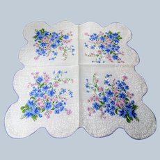 50s VINTAGE Printed Floral Hanky,Colorful Blue Pink Flowers Hankie,Handkerchief To Frame,Collectible Hankies,Bridal Hankies To Collect