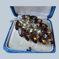 Vintage Glittering TOPAZ CITRINE Aurora Borealis Rhinestone Brooch,Prong Set,Brilliant Rhinestones,Swarovski Crystal,Collectible Mid Century Jewelry