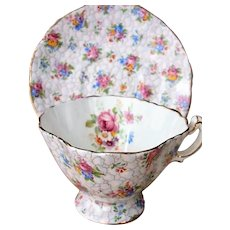 BEAUTIFUL Vintage Footed Teacup and Saucer,HAMMERSLEY English Bone China, Chintz Flowers Cup and Saucer, Bridal Showers Tea Parties,Gifts, Collectible Teacups
