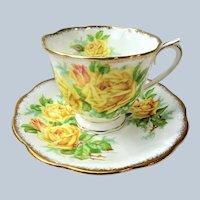 VINTAGE Royal Albert English Bone China Teacup and Saucer Tea Rose Pattern,Lush Yellow Roses,Lavish Gold Trim, Pedestal Cup and Saucer,Collectible Teacups