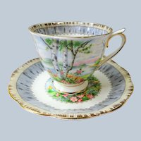 VINTAGE Royal Albert English Bone China Teacup and Saucer Silver Birch Pattern,Lush Colors,Lavish Gold Trim, Pedestal Cup and Saucer,Collectible Teacups
