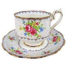 VINTAGE Royal Albert English Bone China Teacup and Saucer,Petit Point Pattern,Charming Pink Blue Cup and Saucer,Collectible Vintage Teacups