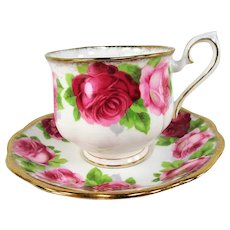 GORGEOUS Royal Albert Old English Roses Tea Cup and Saucer,Lush Pink Maroon Roses,Lavish Gold Trim,English Bone China, Collectible Vintage Teacup and Saucer