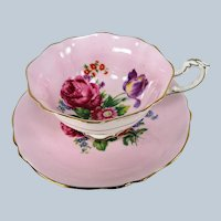 BEAUTIFUL Vintage PARAGON Teacup and Saucer,English Bone China Cup and Saucer, PINK Floral Cabinet Teacup Saucer,Double Warrant,Collectible Vintage Teacups
