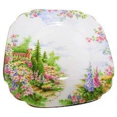 BEAUTIFUL Vintage Kentish Rockery Plates,Royal Albert English Bone China, 6 Inch  Square Tea or Luncheon Plates,Dreamy Colors, Decorative Plates, Collectible Bone China