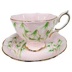 LOVELY Vintage Royal Albert Teacup and Saucer,PINK Laurentian Snow Drop Pattern, Rare 1940s English Bone China,Lavish Gold Trim, Collectible Vintage Teacups and Saucers