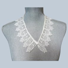 LOVELY Antique French Lace,Cotton Lace Small Collar or Trim,Beautiful Intricate Pattern,Dolls,Bridal Lace,Heirloom Sewing,Collectible Lace
