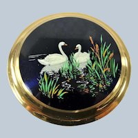 CHARMING Vintage Powder Compact,Pair of Swans, Kigu Style Purse Compact, Collectible Vintage Compacts, Vanity Display