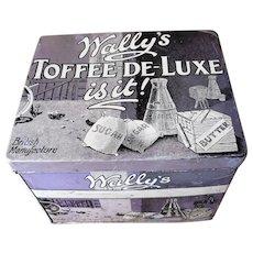 ANTIQUE Large Old Confectionery Tin,Wallys Toffee de Luxe,Tin Box,British Candy Tin,English Tin Box,Kitchen Farmhouse Decor,Collectible Tins
