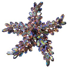 STUNNING Vintage Sherman HUGE Star Fish Brooch, 3 Tier Brooch, Dazzling Aurora Borealis Swarovski Glass Stones, Midcentury Collectible Jewelry