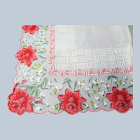 LOVELY Vintage Printed Floral Hanky Flowers ,Handkerchief To Frame, Collectible Hankies,1950s Hankies, 1950s Hanky, 1950s Handkerchiefs, Mid Century Hankies