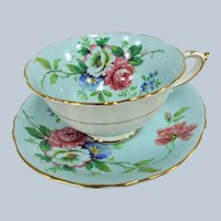 BEAUTIFUL PARAGON Teacup and Saucer,English Bone China Cup and Saucer,Blue Floral Cabinet Teacup ,Double Warrant,Collectible Vintage Teacups