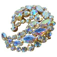 LOVELY 1950s Brooch, Paisley Design, Aurora Borealis,Swarovski Crystals,Hand Prong Set Rhinestones, Mid-Century Vintage COLLECTIBLE JEWELRY