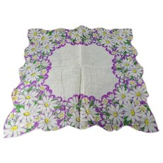 CHEERY Printed Floral Hanky, Daisy Flowers ,Handkerchief To Frame, Collectible Hankies,1950s Vintage Hankies, 1950s Hanky, 1950s Handkerchiefs, Mid Century Hankies