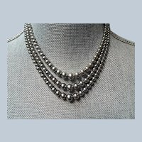 Vintage 30s LUXURIOUS Lustrous Gray Pearl Bead Necklace,Elegant Triple Strand Of Beads, Day or Evening,Bridal,Collectible Vintage Costume Jewelry