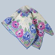1930s ART DECO Hanky,Silky Hankies, Printed Blue Pink Flowers Hanky,Colorful Vintage Hankies,Collectible Vintage Hankies