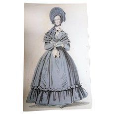 1830s ANTIQUE FASHION PRINT London Walking Dress,The Newest Fashions of London, Paris Decorative Engraving,Farmhouse,French Country Decor