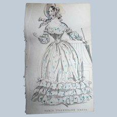 1830s ANTIQUE FASHION PRINT Paris Promenade Dress,The Newest Fashions of London, Paris Decorative Engraving,Farmhouse,French Country Decor