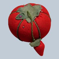 CHARMING Vintage Large Tomato Pin Cushion and Strawberry Emery, Collectible Pin Cushions, Collectible Sewing Tools