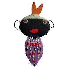 CHARMING Old Black Americana Folk Art Pincushion,Black Cloth Doll, Hanging Pin Cushion, Collectible Pincushions, Collectible Americana